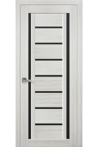 Межкомнатная дверь Флоренция С2 жемчуг белый с черным стеклом