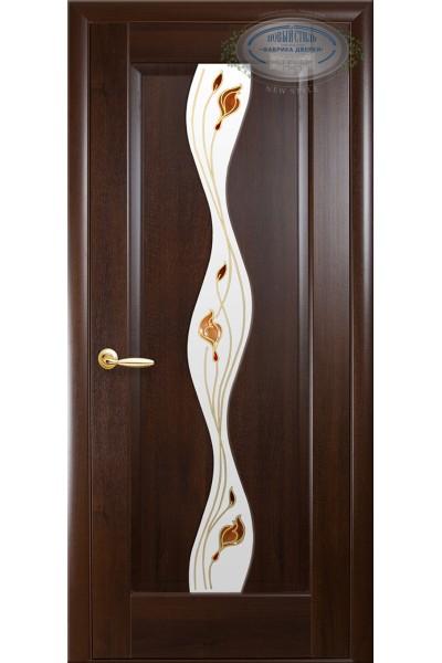 Межкомнатная дверь Волна каштан Р1 ПВХ DeLuxe
